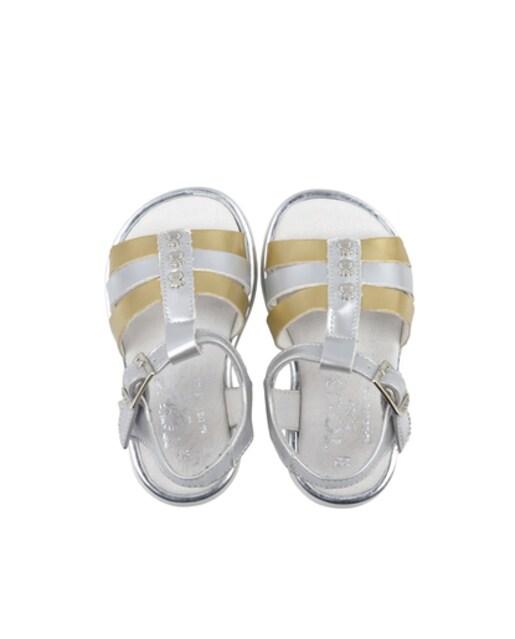 Sandália romana fivela prateada e dourada Walk Lux Única