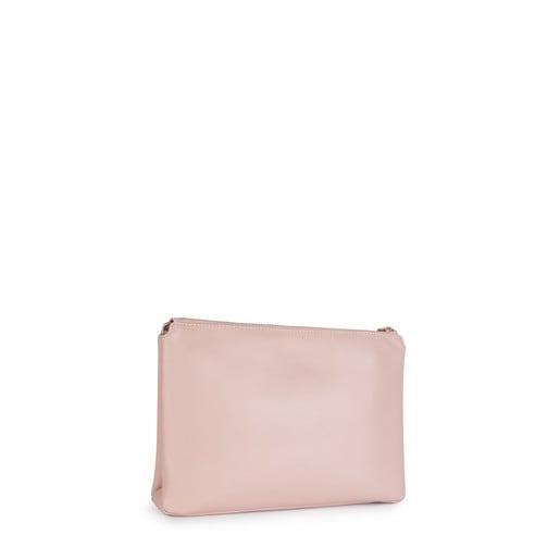 Bandolera grande Tulia de Piel en color rosa