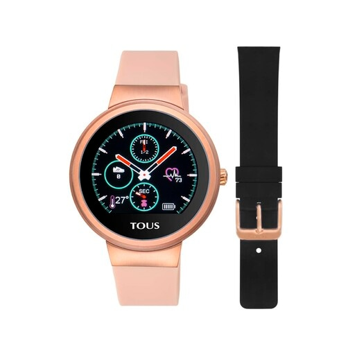 Reloj activity Rond Touch de acero IP rosado con correa de silicona intercambiable