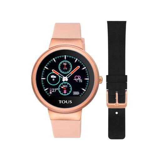 Fitnessuhr Rond Touch aus rosafarbenem IP-Stahl mit austauschbarem Silikonarmband