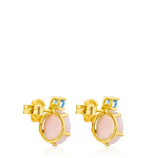 Boucles d'oreilles Ivette en Or avec Opale rose et Topaze