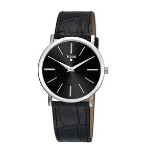 Steel Stous Watch with black Leather strap