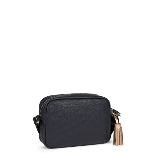 Small navy blue Leather Leissa Crossbody bag