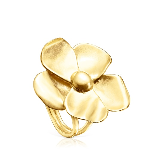 Silver Vermeil Fragile Nature flower Ring