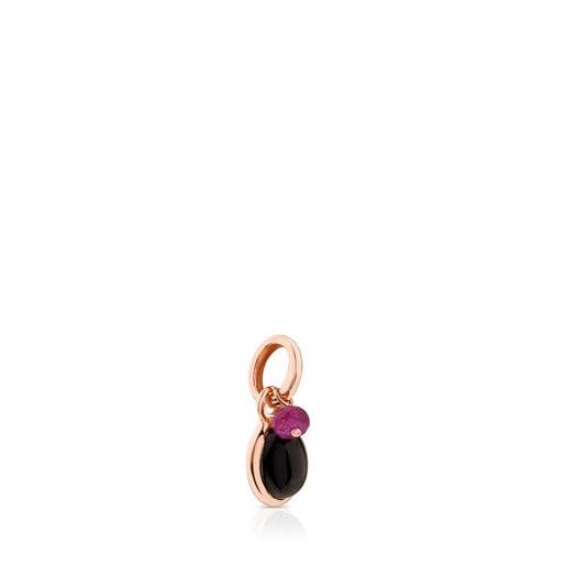 Pingente Tiny em Prata Vermeil rosa com Ónix e Rubi