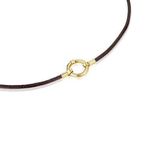 Collar Hold de Oro y Cuero marrón