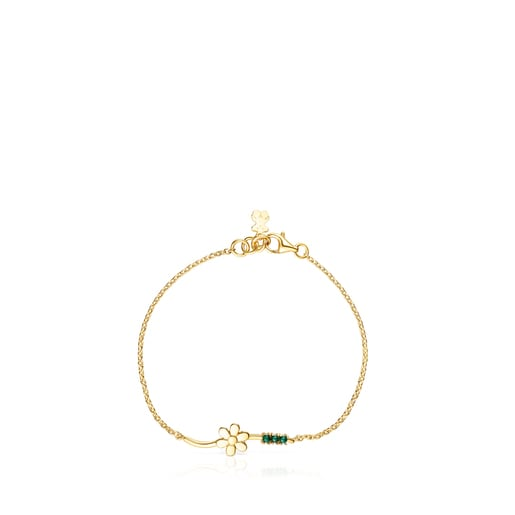 Silver Vermeil Fragile Nature flower Bracelet with Malachite