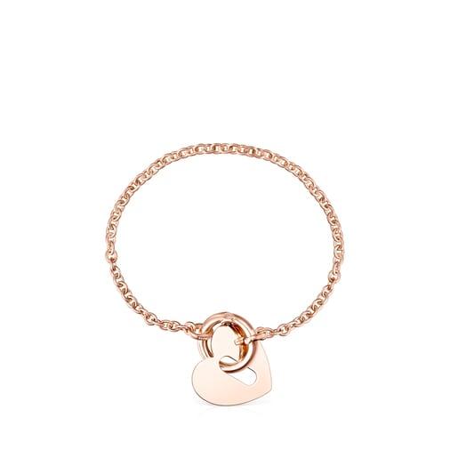 Bracelet Hold Metal cœur en Or Vermeil rose