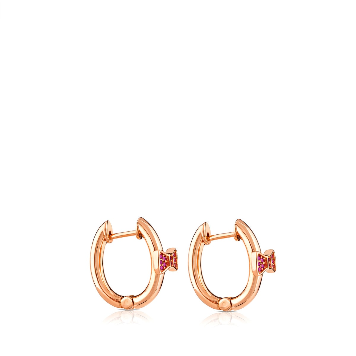 Pink Vermeil Silver Gen Earrings with Ruby