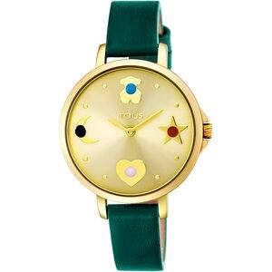 Reloj Super Power de acero IP dorado con correa de piel verde