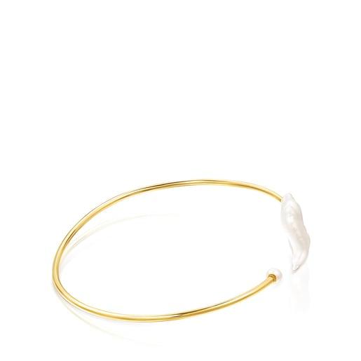 Pulsera Nenufar pétalo de plata vermeil y perlas