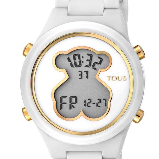 Reloj D-Bear de policarbonato con correa de silicona blanca