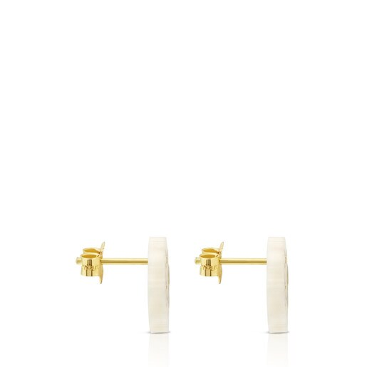 Μικρά Σκουλαρίκια Mossaic Power από Χρυσό και Μαργαριταρόριζα