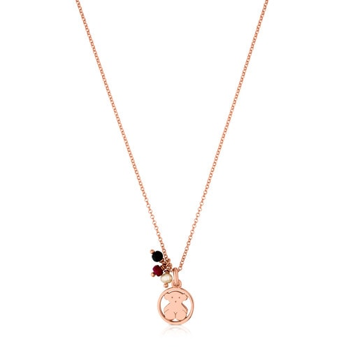 Rose Vermeil Silver Camille Necklace with Onyx, Ruby and Pearl