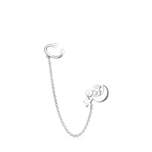 Nocturne 1/2 Earring Silver chain with Pearl