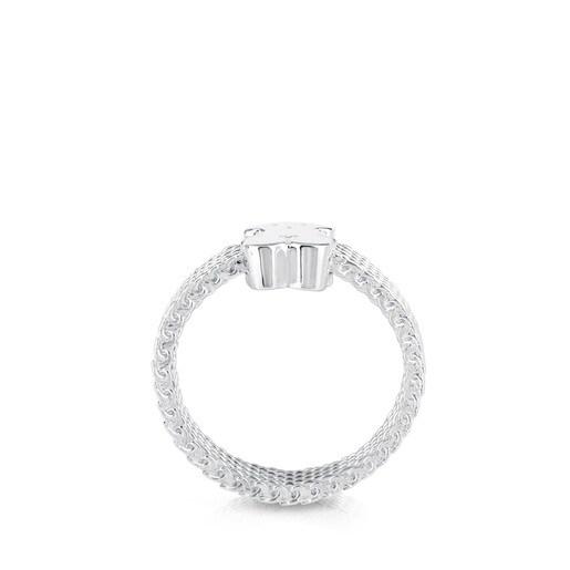 Silver TOUS Mesh Ring 0,5cm.