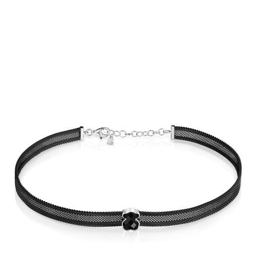 Black IP Steel Mesh Color Necklace with Onyx