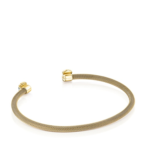 Fine gold-colored IP Steel Mesh Color Bracelet with Howlite