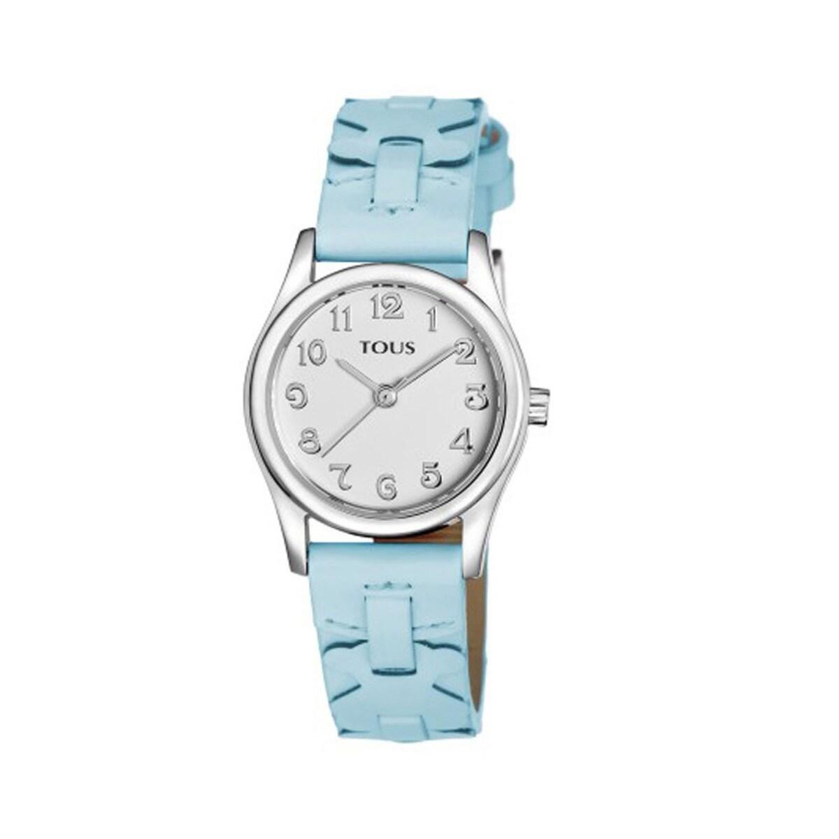 Relógio Cruise em Aço com correia de Pele azul