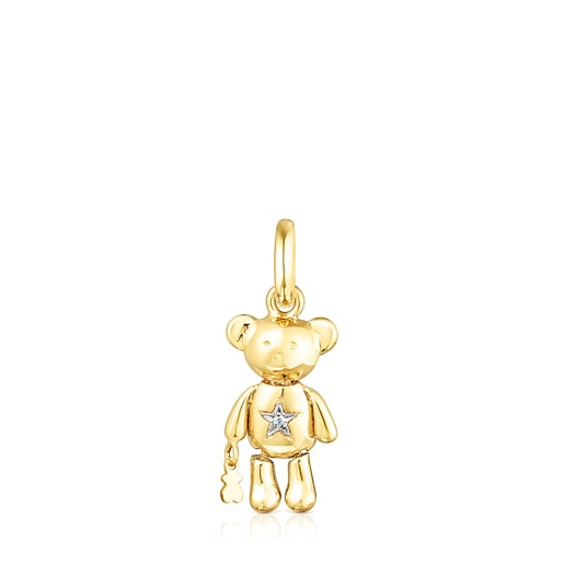 Penjoll Teddy Bear Stars d'or i diamants