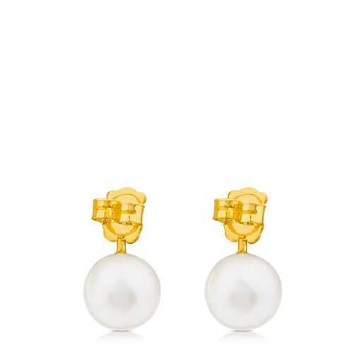 Gold Ivette Earrings with Pearl