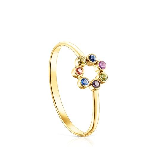 Scheiben-Ring Straight Color aus Gold mit Edelsteinen