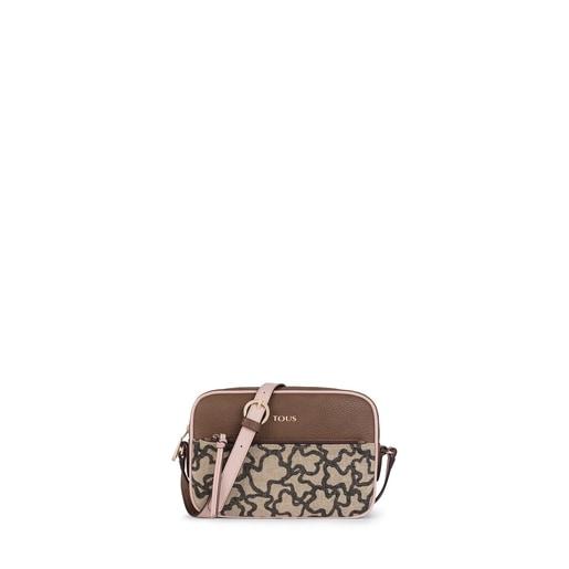 Τσάντα χιαστί Elice New σε καφέ και ροζ χρώμα