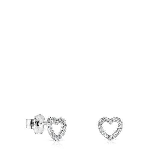 Aros Les Classiques corazón de Oro blanco con Diamantes
