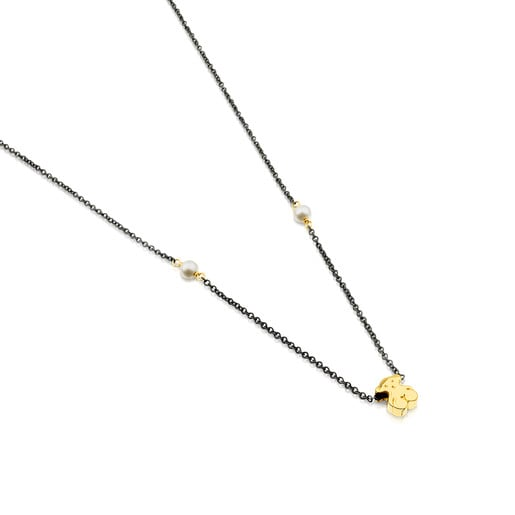 Collar Gem Power de plata pavonada y perlas y oso de oro