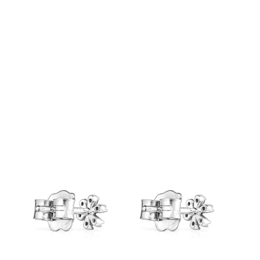 Aretes Blume de oro blanco con diamantes