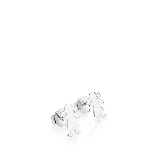 Silver TOUS Basics Earrings Girl motif