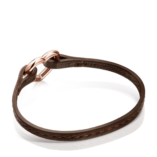 Herz-Armband Hold aus Vermeil-Roségold und braunem Leder