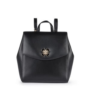 Black Leather Liz Backpack