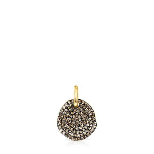 Small Silver Vermeil Nenufar Pendant with Diamonds