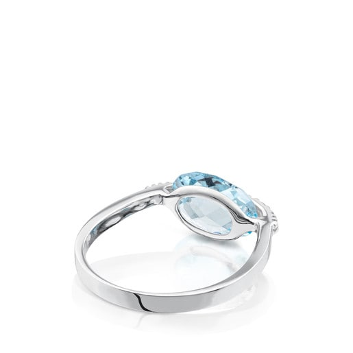 White Gold TOUS Color Kings Ring with diamonds and topaz
