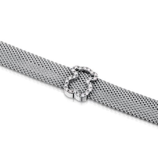 Steel and White gold TOUS Icon Mesh Bracelet with Diamonds Bear motif 0,8cm. 0,14ct