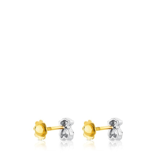 Gold Puppies Earrings with Diamonds Bear motif