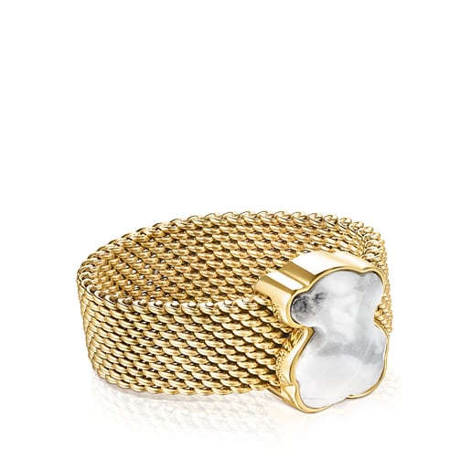 Gold-colored IP Steel Mesh Color Ring with Howlite Bear motif