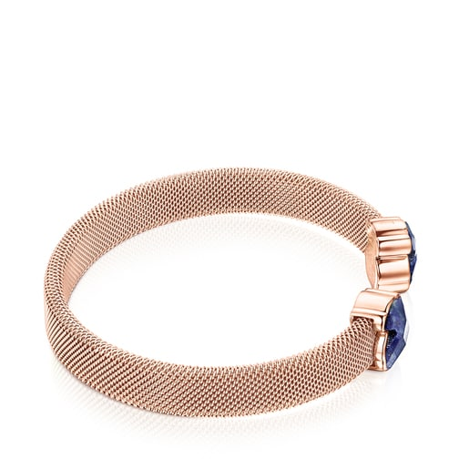 Armband Mesh Color aus rosafarbenem IP-Stahl mit Lapislazuli
