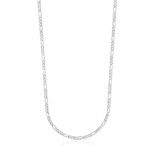 Corrente média TOUS Chain mix barbada em Prata, 65cm.