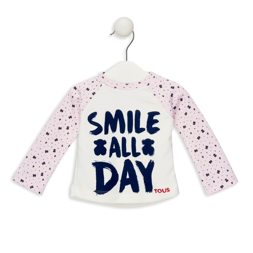 """Camisola M/L """"Smile all day"""" Rosa"""
