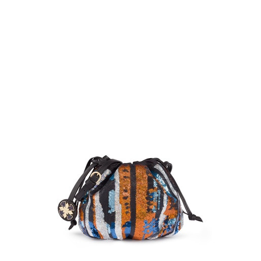Mini multicolored Liz Fun Sequins bucket bag