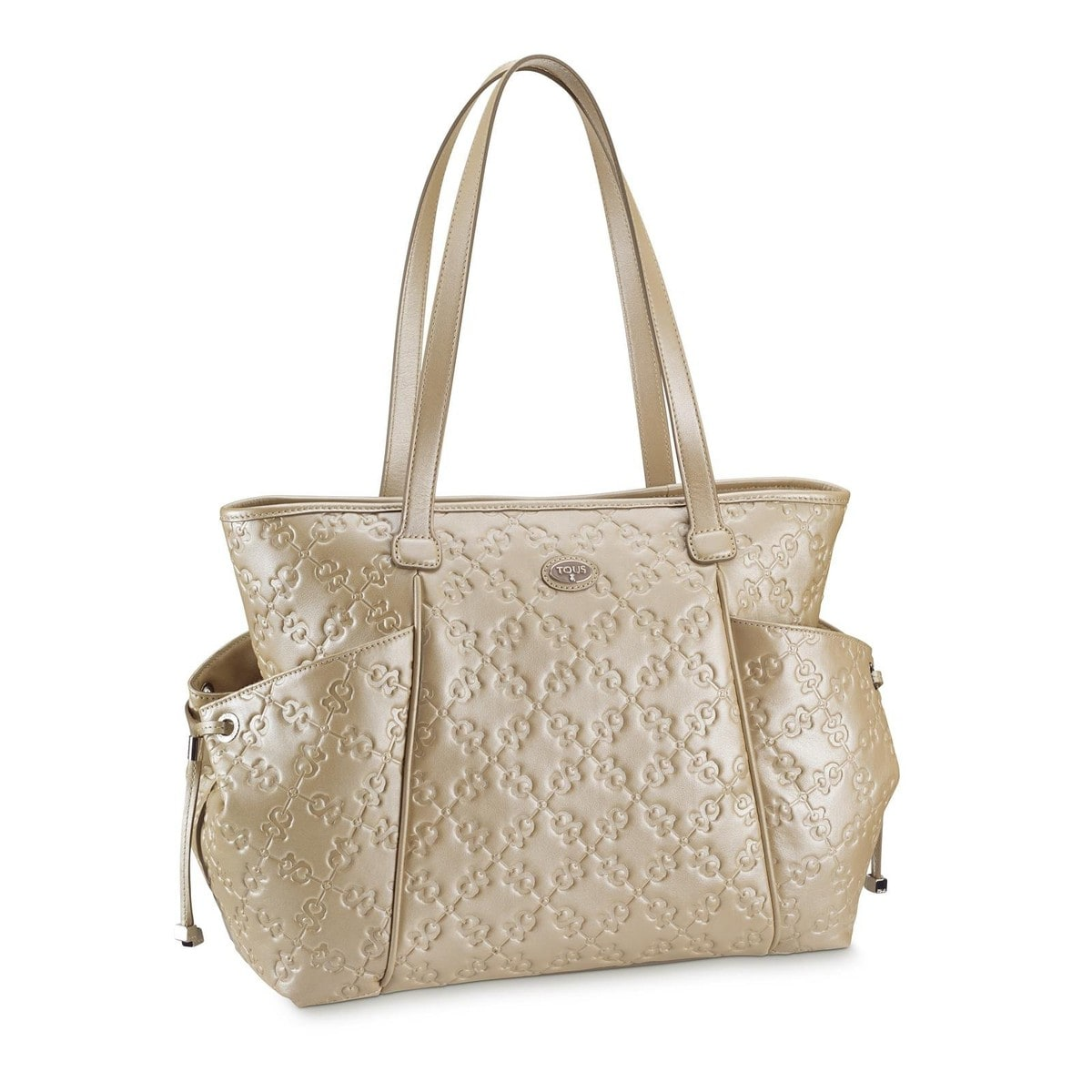 Pearl colored Leather Infinit Tote bag
