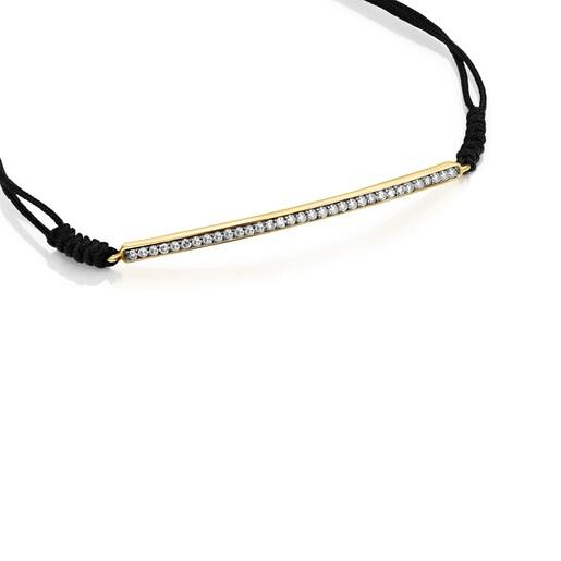 Pulsera Nocturne barra de Plata Vermeil, Diamantes y Cordón negro