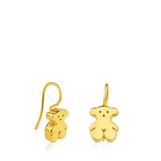 Gold Sweet Dolls Earrings with Bear motif. Hook back.
