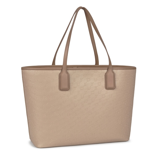 Large taupe colored Script Day Tote bag