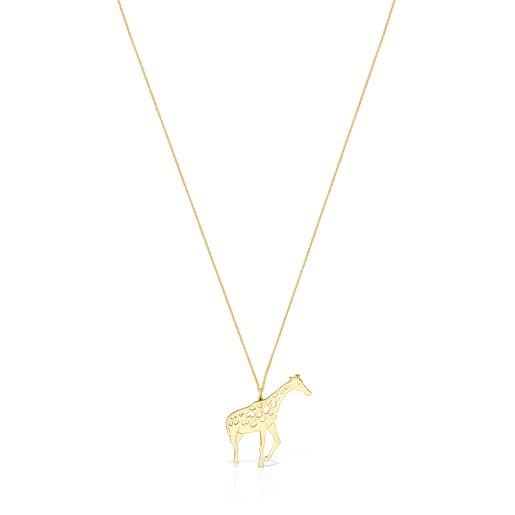 Long Silver Vermeil Save giraffe Necklace
