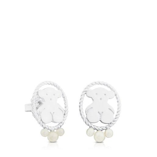 Aros Camee de Plata con Perla