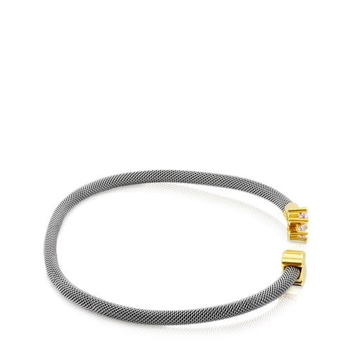 Steel and Gold Eklat Bracelet with Topaz
