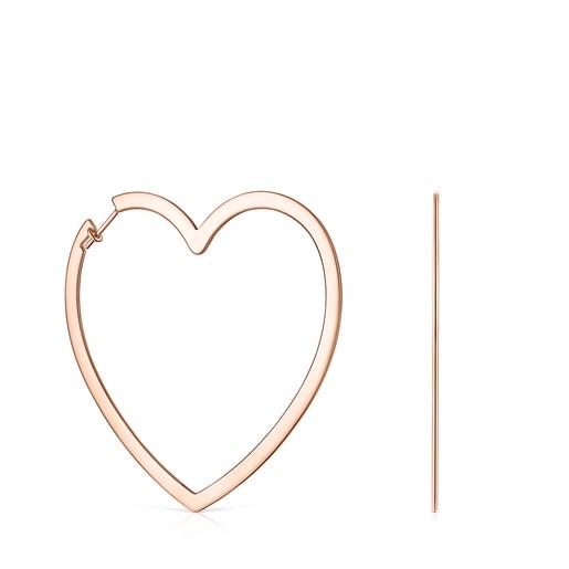 Aretes Silueta corazón de Plata Vermeil rosa